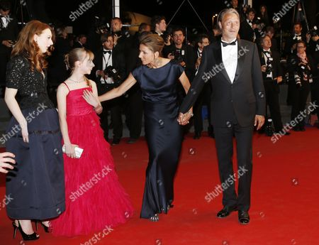 French Actress Roxane Duran (l) French Actress Melusine Mayance (2-l) Danish Actor Mads Mikkelsen (r)and Wife Hanne Jacobsen (2-r) Arrive For the Screening of 'Michael Kohlhaas' During the 66th Annual Cannes Film Festival in Cannes France 24 May 2013 the Movie is Presented in the Official Competition of the Festival Which Runs From 15 to 26 May France Cannes