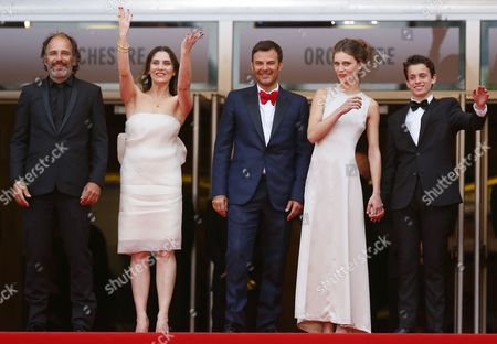 (l-r) French Actor Frederic Pierrot French Actress Geraldine Pailhas French Director Francois Ozon French Actress Marine Vacth and French Actor Fantin Ravat Arrive For the Screening of 'Jeune & Jolie' (young & Beautiful) During the 66th Annual Cannes Film Festival in Cannes France 16 May 2013 the Movie is Presented in the Official Competition of the Festival Which Runs From 15 to 26 May France Cannes