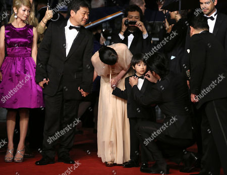(l-r) Japanese Actress Yoko Maki Director Hirokazu Kore-eda Machiko Ono Keita Ninomiya and Masaharu Fukuyama Arrive For the Screening of 'Soshite Chichi Ni Naru' (like Father Like Son) During the 66th Annual Cannes Film Festival in Cannes France 18 May 2013 the Movie is Presented in the Official Competition of the Festival Which Runs From 15 to 26 May France Cannes