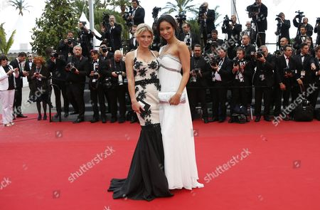 Former Miss France 2005 Cindy Fabre (r) and Israeli Model Hofit Golan (l) Arrive For the Screening of 'Inside Llewyn Davis' During the 66th Annual Cannes Film Festival in Cannes France 19 May 2013 the Movie is Presented in the Official Competition of the Festival Which Runs From 15 to 26 May France Cannes
