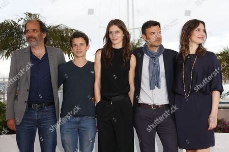 Stock Picture of (l-r) French Actor Frederic Pierrot French Actor Fantin Ravat French Actress Marine Vacth French Director Francois Ozon and French Actress Geraldine Pailhas Pose During the Photocall For 'Jeune & Jolie' (young & Beautiful) at the 66th Annual Cannes Film Festival in Cannes France 16 May 2013 the Movie is Presented in the Official Competition of the Festival Which Runs From 15 to 26 May France Cannes