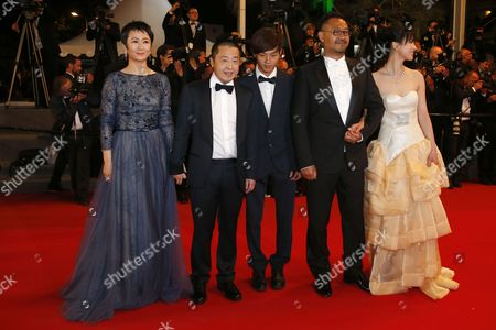 (l-r) Chinese Actress Tao Zhao Chinese Director Jia Zhangke Chinese Actor Lanshan Luo Chinese Actor Jiang Wu and Chinese Actress Meng Li Arrive For the Screening of 'Tian Zhu Ding' (a Touch of Sin) During the 66th Annual Cannes Film Festival in Cannes France 17 May 2013 the Movie is Presented in the Official Competition of the Festival Which Runs From 15 to 26 May France Cannes