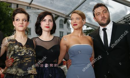 (l-r) French Actress Camille Lellouche French Director Rebecca Zlotowski French Actress Lea Seydoux and Fench Actor Denis Menochet Arrive For the Screening of 'Jimmy P (psychotherapy of a Plains Indian)' During the 66th Annual Cannes Film Festival in Cannes France 18 May 2013 the Movie is Presented in the Official Competition of the Festival Which Runs From 15 to 26 May France Cannes