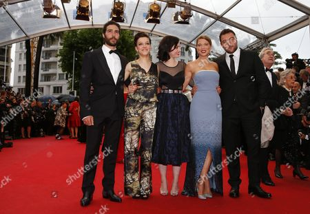 (l-r) French Actor Tahar Rahim French Actress Camille Lellouche French Director Rebecca Zlotowski French Actress Lea Seydoux and Fench Actor Denis Menochet Arrive For the Screening of 'Jimmy P (psychotherapy of a Plains Indian)' During the 66th Annual Cannes Film Festival in Cannes France 18 May 2013 the Movie is Presented in the Official Competition of the Festival Which Runs From 15 to 26 May France Cannes