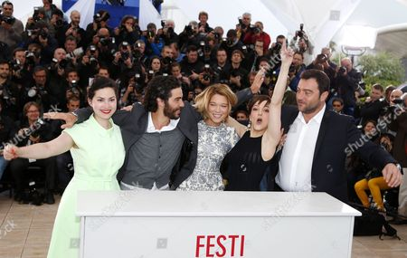 (l-r) French Director Rebecca Zlotowski French Actor Tahar Rahim French Actress Lea Seydoux French Actress Camille Lellouche and French Actor Denis Menochet Pose During the Photocall For 'Grand Central' at the 66th Annual Cannes Film Festival in Cannes France 18 May 2013 the Movie is Presented in the 'Un Certain Regard' Section of the Festival Which Runs From 15 to 26 May France Cannes