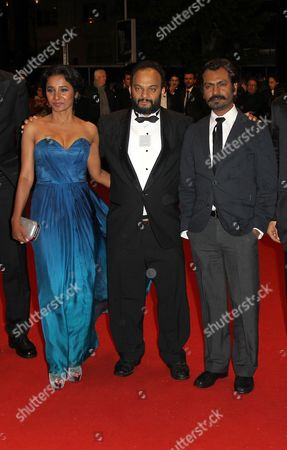 (l-r) Indian Actress Tannishtha Chatterjee Indian Director Amit Kumar and Indian Actor Nawazuddin Siddiqui Arrive For the Premiere of 'Monsoon Shootout' During the 66th Annual Cannes Film Festival in Cannes France 18 May 2013 the Movie is Presented out of Competition at the Festival Which Runs From 15 to 26 May France Cannes