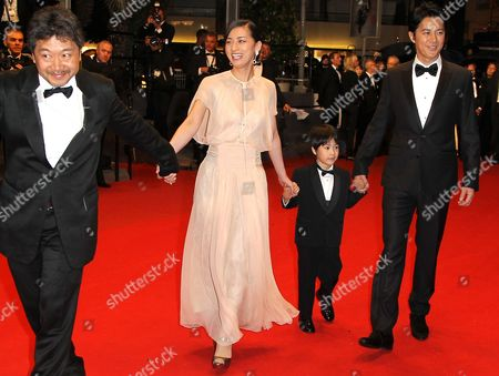 (l-r) Japanese Director Hirokazu Kore-eda Actors Machiko Ono Keita Ninomiya and Masaharu Fukuyama Arrive For the Screening of 'Soshite Chichi Ni Naru' (like Father Like Son) During the 66th Annual Cannes Film Festival in Cannes France 18 May 2013 the Movie is Presented in the Official Competition of the Festival Which Runs From 15 to 26 May France Cannes