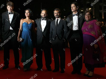 Indian Actress Tannishtha Chatterjee (2-l) Indian Director Amit Kumar (3-l) Indian Actor Nawazuddin Siddiqui (3-r) Indian Actor Vijay Verma (2-r) and Guests Arrive For the Premiere of 'Monsoon Shootout' During the 66th Annual Cannes Film Festival in Cannes France 18 May 2013 the Movie is Presented out of Competition at the Festival Which Runs From 15 to 26 May France Cannes