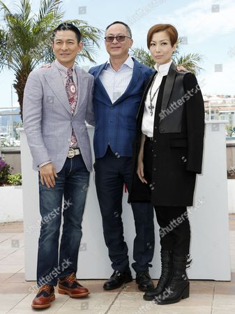 (l-r) Hong Kong Actor Andy Lau Hong Kong Director Johnnie to and Hong Kong Actress Sammi Cheng Pose During the Photocall For 'Blind Detective' at the 66th Annual Cannes Film Festival in Cannes France 20 May 2013 the Movie is Presented out of Competition at the Festival Which Runs From 15 to 26 May France Cannes