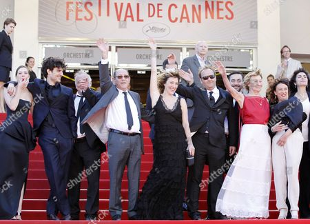 French Actress Celine Sallette (l) French Actor Louis Garrel (2-l) French Actor Andre Wilms (3-l) French Actress/director Valeria Bruni Tedeschi (5-l) French Actor Xavier Beauvois (5-r) Italian Actor Filippo Timi (4-r) Italian Actress Marisa Borini (3-r) French Writer Noemie Lvovsky (2-r) and Guests Arrive For the Screening of 'Un Chateau En Italie' (a Castle in Italy) During the 66th Annual Cannes Film Festival in Cannes France 20 May 2013 the Movie is Presented in the Official Competition of the Festival Which Runs From 15 to 26 May France Cannes
