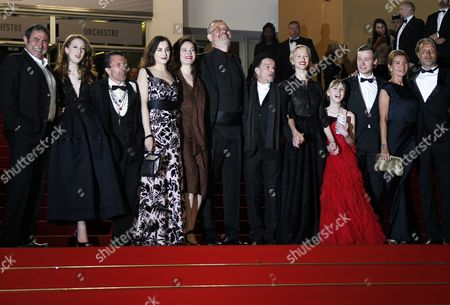 Spanish Actor Sergi Lopez (l) French Actress Roxane Duran (2-l) French Actress Amira Casar (4-l) French Director Arnaud Des Pallieres (6-l) French Actor Denis Lavant (6-r) French Actress Delphine Chuillot (5-r) French Actress Melusine Mayance (4-r) German Actor David Kross (3-r) Danish Actor Mads Mikkelsen (r) His Wife Hanne Jacobsen (2-r) and Guests Arrive For the Screening of 'Michael Kohlhaas' During the 66th Annual Cannes Film Festival in Cannes France 24 May 2013 the Movie is Presented in the Official Competition of the Festival Which Runs From 15 to 26 May France Cannes