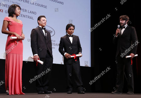 (l-r) Actors Karen Martinez Brandon Lopez Rodolfo Dominguez and Mexican Director Diego Quemada-diez Receive the 'Un Certain Talent' Award For the Ensemble Cast of 'La Jaula De Oro' During the 'Un Certain Regard' Closing Ceremony As Part of the 66th Annual Cannes Film Festival in Cannes France 25 May 2013 France Cannes