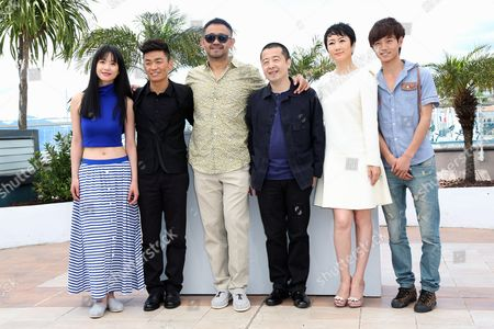 (l-r) Chinese Actress Meng Li Chinese Actor Baoqiang Wang Chinese Actor Jiang Wu Chinese Director Jia Zhangke Chinese Actress Tao Zhao and Chinese Actor Lanshan Luo Pose During the Photocall For 'Tian Zhu Ding' (a Touch of Sin) at the 66th Annual Cannes Film Festival in Cannes France 17 May 2013 the Movie is Presented in the Official Competition of the Festival Which Runs From 15 to 26 May France Cannes