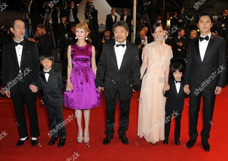 Japanese Actors Lily Franky Shogen Whang Yoko Maki Director Hirokazu Kore-eda Machiko Ono Keita Ninomiya and Masaharu Fukuyama Arrive For the Screening of 'Soshite Chichi Ni Naru' (like Father Like Son) During the 66th Annual Cannes Film Festival in Cannes France 18 May 2013 the Movie is Presented in the Official Competition of the Festival Which Runs From 15 to 26 May France Cannes