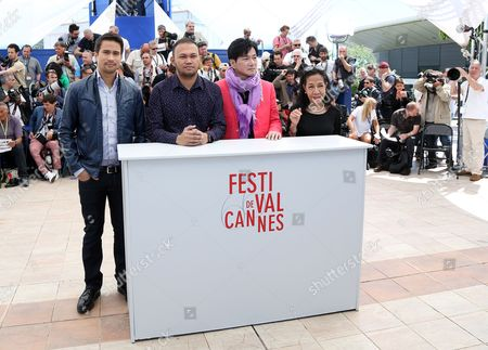 Stock Image of Japanese Actor Jacky Woo (2-r) Filipino Director Adolfo Alix Jr (2-l) Filipino-us Actor Sam Milby (l) and Producer Evelyn Vargas-knaebel (r) Pose During the Photocall For 'Death March' at the 66th Annual Cannes Film Festival in Cannes France 19 May 2013 the Movie is Presented in the 'Un Certain Regard' Section of the Festival Which Runs From 15 to 26 May France Cannes