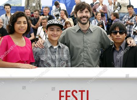 (l-r) Actress Karen Martinez Actor Brandon Lopez Mexican Director Diego Quemada-diez and Actor Rodolfo Dominguez Pose During the Photocall For 'La Jaula De Oro' at the 66th Annual Cannes Film Festival in Cannes France 22 May 2013 the Movie is Presented in the 'Un Certain Regard' Section of the Festival Which Runs From 15 to 26 May France Cannes