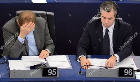 Alexander Graf Lambsdorff (l) and Alexander Alvaro (r) From Germany of the Group of the Alliance of Liberals and Democrats For Europe Are Seen During the Plenary Session in the European Parliament in Strasbourg France 20 November 2013 According to Media Reports Alvaro who was Involved in a Car Crash That Left a 21-year-old Dead Allegedly Had Cocaine in His Blood at the Time of the Accident in February 2013 According to the Prosecution France Strasbourg