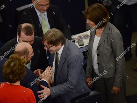 Recently Re-elected President of the European Parliament Martin Schulz (l) is Greeted by Chairman of the Epp Group in the European Parliament Manfred Weber (c) Guy Verhofstadt (r) the Leader of the Alde Liberal Group at the European Parliament and Parliamentary Party Leader of the Greens in the European Parliament Rebecca Harms in the European Parliament in Strasbourg France 01 July the European Parliament is Meeting For the First Plenary Session After the European Elections France Strasbourg