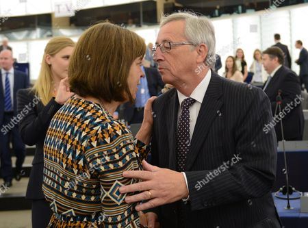 Parliamentary Party Leader of the Greens in the European Parliament Rebecca Harms Greets Jean-claude Juncker Candidate For President of the Commission Before His Statement During the Plenary Session in the European Parliament in Strasbourg France 15 July 2014 France Strasbourg