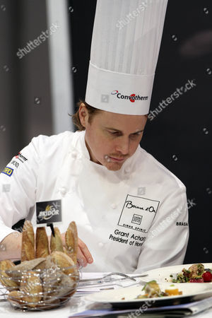 Us Chef Grant Achatz Acting As President of Honor Tastes a Dish During the Bocuse D'or Final Gastronomic Competition in Lyon France 27 January 2015 Chefs From 24 Countries Participate in the Two-day Final Competition France Lyon