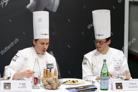 Us Chef Grant Achatz (l) Acting As President of Honor and French Chef Thibaut Ruggeri (r) As President of the International Jury Take Part During the Bocuse D'or Final Gastronomic Competition in Lyon France 27 January 2015 Chefs From 24 Countries Participate in the Two-day Final Competition France Lyon