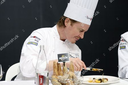 Us Chef Grant Achatz Acting As President of Honor Examines a Dish During the Bocuse D'or Final Gastronomic Competition in Lyon France 27 January 2015 Chefs From 24 Countries Participate in the Two-day Final Competition France Lyon