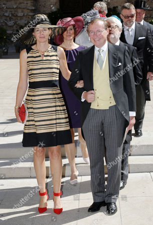 Prince Jean of Luxembourg (r) and Countess Diane of Nassau (l) Leave After the Religious Wedding Ceremony of Prince Felix of Luxembourg and Claire Lademacher at the Sainte Marie-madeleine Basilica in Saint-maximin-la-sainte-baume Southern France 21 September 2013 Celebrations Started on 17 September with a Civil Ceremony in Koenigstein Am Taunus Germany France Saint Maximin La Sainte Baume