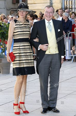 Stock Picture of Prince Jean of Luxembourg (r) and Countess Diane of Nassau (l) Leave After the Religious Wedding Ceremony of Prince Felix of Luxembourg and Claire Lademacher at the Sainte Marie-madeleine Basilica in Saint-maximin-la-sainte-baume Southern France 21 September 2013 Celebrations Started on 17 September with a Civil Ceremony in Koenigstein Am Taunus Germany France Saint Maximin La Sainte Baume