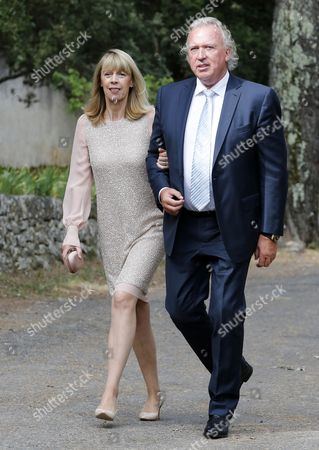 Gabriele Lademacher (l) and Hartmut Lademacher (r) the Parents of Princess Claire of Luxembourg (unseen) Arrive For the Baptism Ceremony of Princess Amalia of Luxembourg Held at the Saint-ferreol Chapel in Lorgues South of France 12 July 2014 the Daughter of Prince Felix and Princess Claire of Luxembourg was Born on 15 June 2014 France Lorgues
