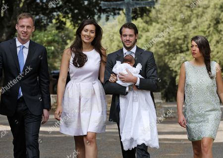 Prince Felix (2-r) and Princess Claire of Luxembourg (2-l) with Their Baby Daughter Princess Amalia Arrive with Their Daughter's Godparents Felix Lademacher (l) and Princess Alexandra (r) For the Baptism Ceremony of Princess Amalia at the Saint-ferreol Chapel in Lorgues South of France 12 July 2014 the Daughter of Prince Felix and Princess Claire of Luxembourg was Born on 15 June 2014 France Lorgues