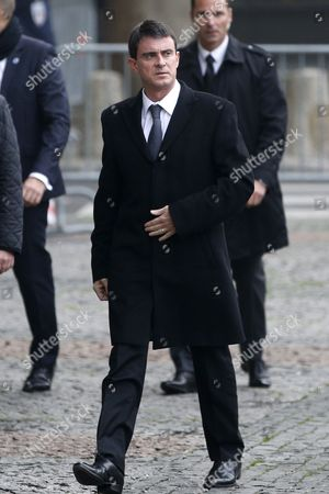French Prime Minister Manuel Valls Arrives at Saint Sulpice Church to Attend a Funeral Service For Former Total Ceo Christophe De Margerie in Paris France 27 October 2014 Former Ceo of the Oil Company Christophe De Margerie Died in an Air Crash in Moscow Russia on 21 October 2014 Along with Three Crew Members when a Snowplough Collided with the Plane He was on France Paris