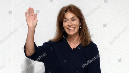 German Designer Andrea Karg Waves on the Catwalk at the End of the Presentation of Her Spring/summer 2015 Ready to Wear Collection For Allude During the Paris Fashion Week in Paris France 01 October 2014 the Presentation of the Women's Collections Runs From 23 September to 01 October France Paris