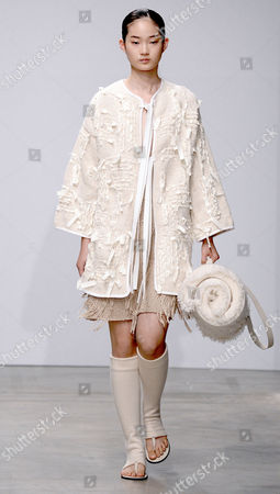 A Model Presents a Creation From the Spring/summer 2015 Ready to Wear Collection by German Designer Andrea Karg During the Paris Fashion Week in Paris France 01 October 2014 the Presentation of the Women's Collections Runs From 23 September to 01 October France Paris