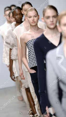 Models Present Creations From the Spring/summer 2015 Ready to Wear Collection by German Designer Andrea Karg For Allude During the Paris Fashion Week in Paris France 01 October 2014 the Presentation of the Women's Collections Runs From 23 September to 01 October France Paris