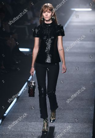 Danish Model Freja Beha Presents a Creation During the Spring/summer 2015 Ready to Wear Collection by French Designer Nicolas Ghesquiere For Louis Vuitton Fashion House During the Paris Fashion Week in Paris France 01 October 2014 the Presentation of the Women's Collections Runs From 23 September to 01 October France Paris