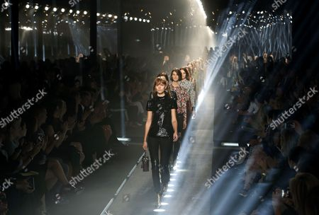 Danish Model Freja Beha (front C) and Models Present Creations During the Spring/summer 2015 Ready to Wear Collection by French Designer Nicolas Ghesquiere For Louis Vuitton Fashion House During the Paris Fashion Week in Paris France 01 October 2014 the Presentation of the Women's Collections Runs From 23 September to 01 October France Paris