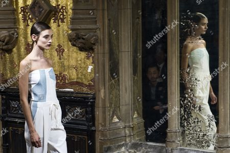 Stock Photo of A Model Presents a Creation From the Spring/summer 2014 Ready to Wear Collection by French Designer Anne Valerie Hash During the Paris Fashion Week in Paris France 27 September 2013 the Presentation of the Women's Collections Runs From 24 September to 02 October France Paris