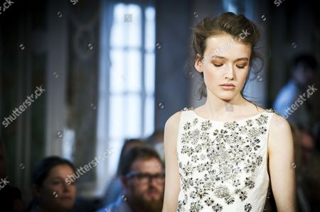 A Model Presents a Creation From the Spring/summer 2014 Ready to Wear Collection by Australian Designer Collette Dinnigan During the Paris Fashion Week in Paris France 30 September 2013 the Presentation of the Women's Collections Runs From 24 September to 02 October France Paris