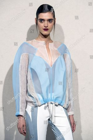 A Model Presents a Creation From the Spring/summer 2014 Ready to Wear Collection by French Designer Anne Valerie Hash During the Paris Fashion Week in Paris France 27 September 2013 the Presentation of the Women's Collections Runs From 24 September to 02 October France Paris
