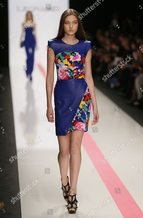 Stock Picture of A Model Presents a Creation From the Spring/summer 2014 Ready to Wear Collection by Italian Designer Raffaele Borriello For Leonard Fashion House During the Paris Fashion Week in Paris France 30 September 2013 the Presentation of the Women's Collections Runs From 24 September to 02 October France Paris