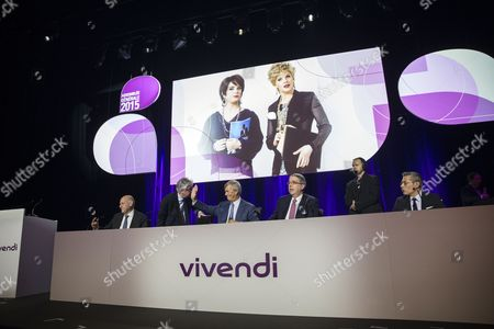(l-r) Vivendi Organization and Development Director Stephane Roussel Vivendi Financial Director Herve Philippe Chairman of the Supervisory Board Vincent Bollore Vivendi Directory President Arnaud De Puyfontaine and Vivendi Group General Secretary Frederic Crepin Attend Vivendi's General Meeting at the Olympia in Paris France 17 April 2015 France Paris