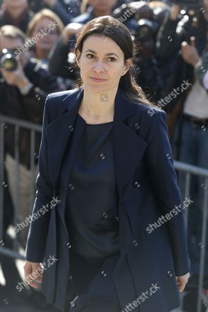 French Culture Minister Aurelie Filippetti Arrives at the Saint-vincent-de-paul Church to Attend the Funeral of French Director Alain Resnais in Paris France 10 March 2014 Resnais Died at the Age of 91 Years Old France Paris