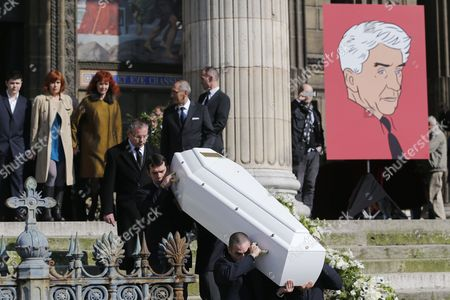 The Coffin of French Director Alain Resnais is Carried out of the Saint-vincent-de-paul Church After the Funeral Mass in Paris France 10 March 2014 Resnais Died at the Age of 91 Years Old France Paris