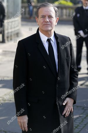 French Actor Francis Huster Arrives at the Saint-vincent-de-paul Church to Attend the Funeral of French Director Alain Resnais in Paris France 10 March 2014 Resnais Died at the Age of 91 Years Old France Paris