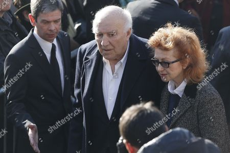French Actor Michel Piccoli (c) Arrives at the Saint-vincent-de-paul Church to Attend the Funeral of French Director Alain Resnais in Paris France 10 March 2014 Resnais Died at the Age of 91 Years Old France Paris