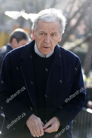 Greek Film Director Costa Gavras Arrives at the Saint-vincent-de-paul Church to Attend the Funeral of French Director Alain Resnais in Paris France 10 March 2014 Resnais Died at the Age of 91 Years Old France Paris