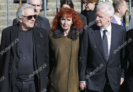 From (l-r) French Actors Pierre Arditi Sabine Azema and Andre Dussollier Leave the Saint-vincent-de-paul Church After Attending the Funeral of French Director Alain Resnais in Paris France 10 March 2014 Resnais Died at the Age of 91 Years Old France Paris