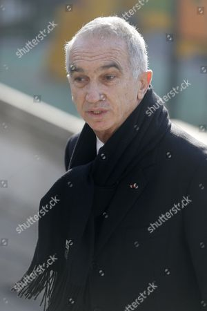 Stock Photo of President of the French Cinema Academy Alain Terzian Arrives at the Saint-vincent-de-paul Church to Attend the Funeral of French Director Alain Resnais in Paris France 10 March 2014 Resnais Died at the Age of 91 Years Old France Paris