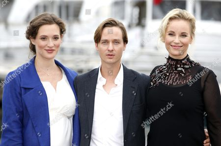 German Actors Friederike Becht (l) Tom Schilling (c) and Swedish Actress Sofia Helin (r) Pose During a Photocall For the Tv Series 'The Same Sky' at the Annual Mipcom Television Content Market in Cannes France 17 October 2016 the Media Event Runs From 17 to 20 October France Cannes