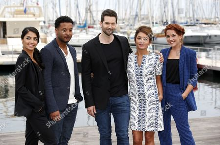 Canadian Actors Nazneen Contractor (l) Brandon Jay Mclaren (2-l) British Actor Luke Roberts (c) French Actress Emma De Caunes (2-r) and Irish Actress Sarah Green (r) Pose During a Photocall For the Tv Series 'Ransom' at the Annual Mipcom Television Content Market in Cannes France 17 October 2016 the Media Event Runs From 17 to 20 October France Cannes